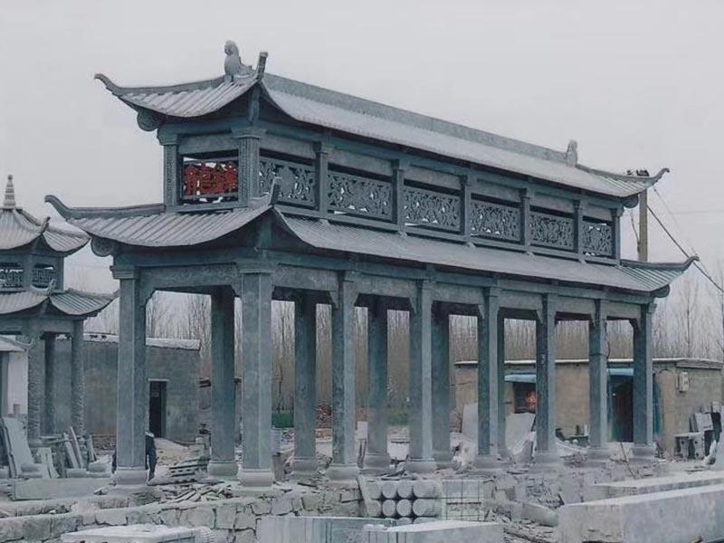 中式双层石凉亭