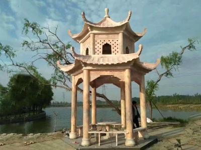 he边景观石liang亭