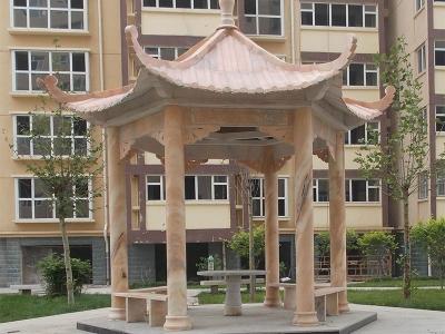 xiao区单层shi雕凉亭展示